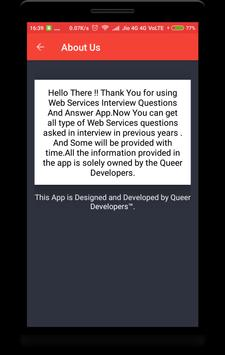 Web Services Interview Questions apk screenshot