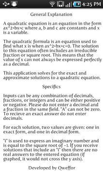 Exact Quadratic Solver captura de pantalla 2