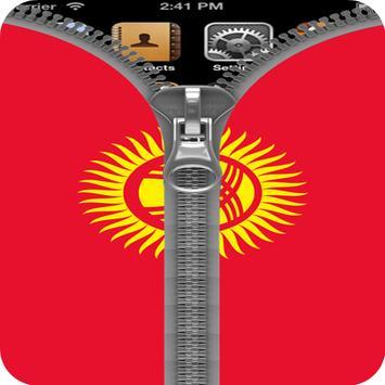 Kyrgyzstan Flag Zipper Lock apk screenshot