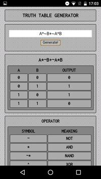Truth Table Generator apk screenshot