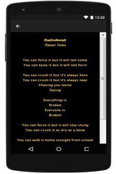 New Lyrics Radiohead apk screenshot