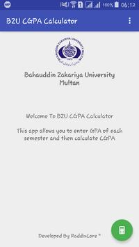BZU CGPA Calculator poster