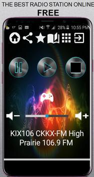 KIX106 CKKX-FM High Prairie 106.9 FM CA App Radio poster