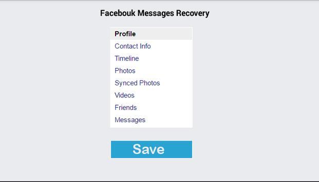 Recovery facbook Message Guide screenshot 1