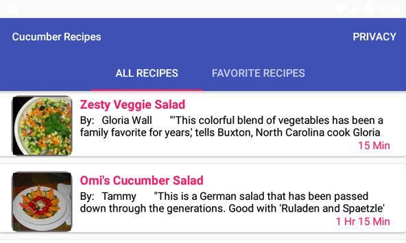 Cucumber Recipes:free recipe app screenshot 1