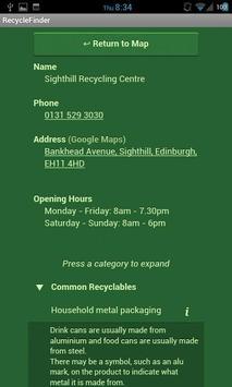 RecycleFinder Scotland apk screenshot