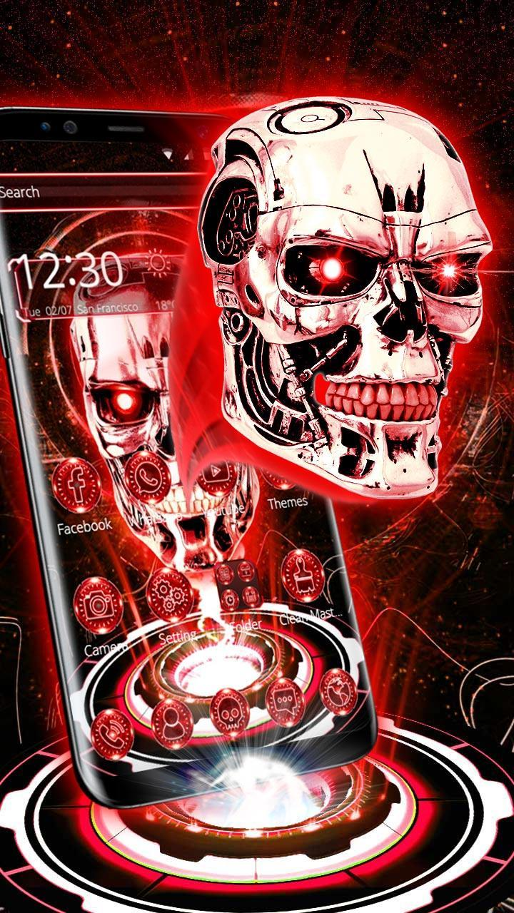 3D Red Neon Tech Skull Theme For Android APK Download