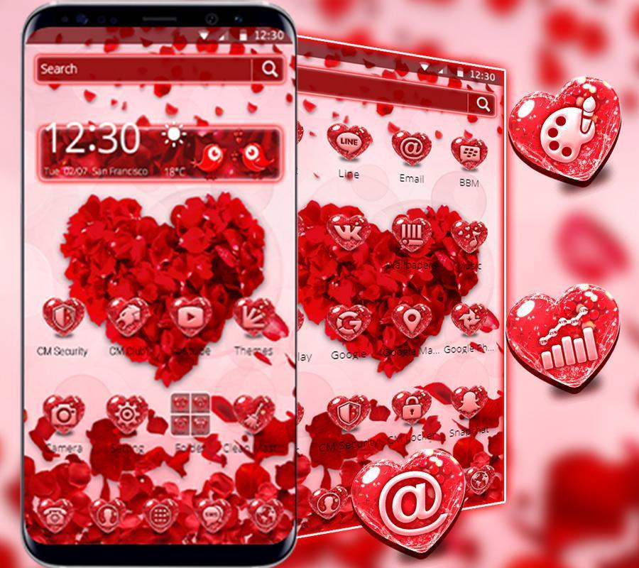 Thème D39amour Coeur Rouge Pour Android Téléchargez Lapk