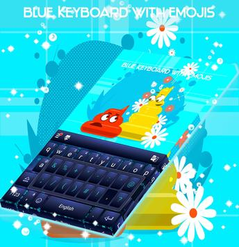 Blue Keyboard with Emojis screenshot 4