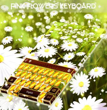 Pink Flowers Keyboard poster