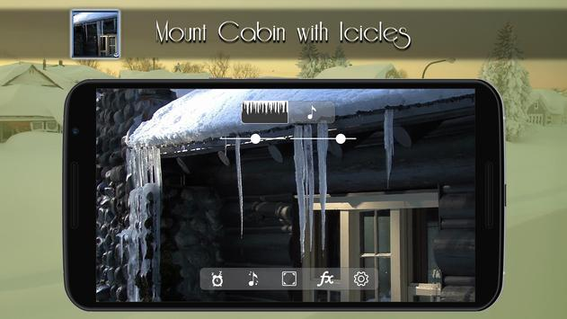 Mountain cabin-melting icicles poster