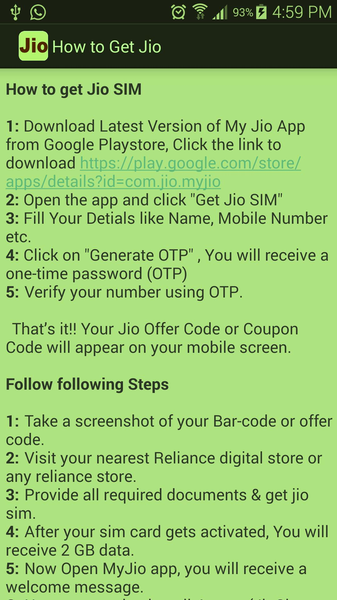 JIO 4G SIM Free Guide for Android - APK Download
