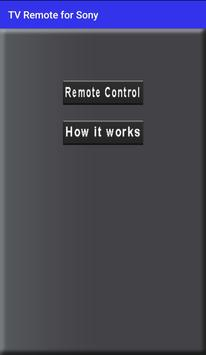 Remote Control for sony TV poster