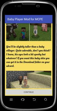 Baby Player mod for MCPE poster