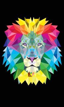 neon lion wallpaper poster