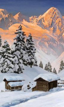 live wallpaper mountain snow poster