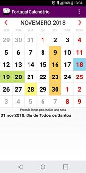 Calendário Feriados Nacionais 2018 Portugal poster