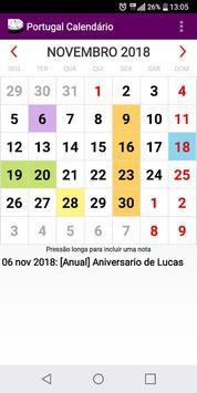 Calendário Feriados Nacionais 2018 Portugal apk screenshot