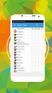 Schedule Rio 16 - Medal Table apk screenshot