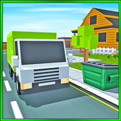 Blocky Garbage Truck Transport icon