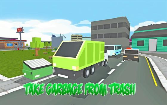 Blocky Garbage Truck Transport poster