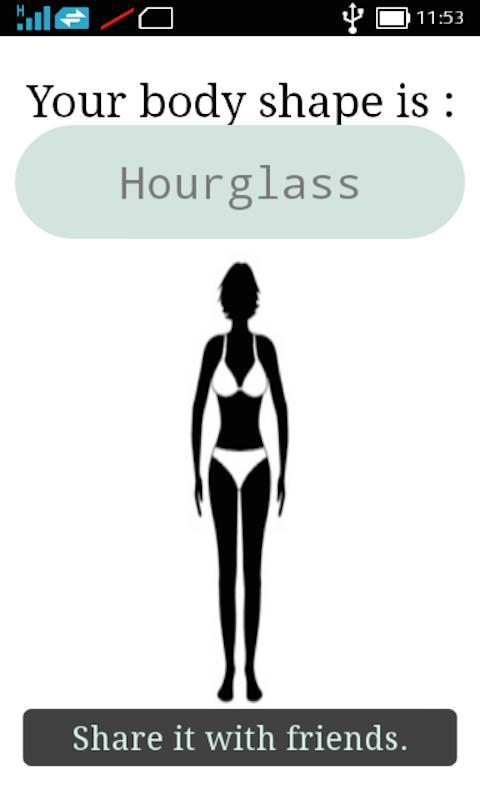 body shape calculator ruler hourglass spoon cone shape