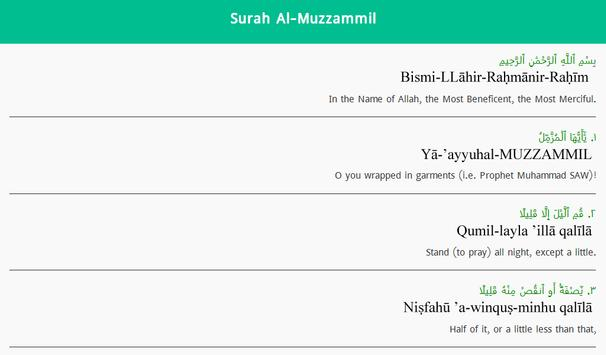 Surah Muzammil English screenshot 2
