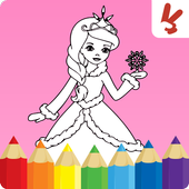 Kids coloring book: Princess icon