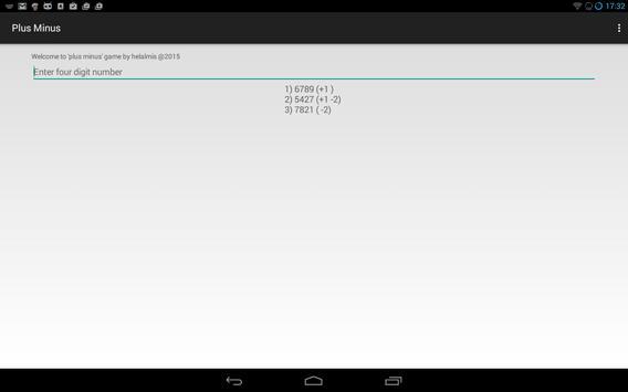 Plus Minus Math Game apk screenshot