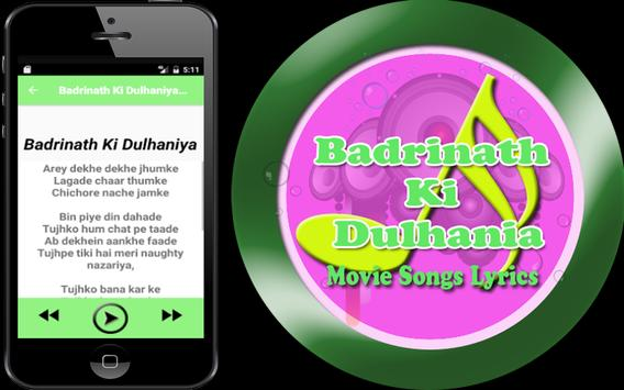 Songs Badrinath Ki Dulhaniya apk screenshot