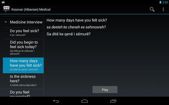 Kosovar (Albanian) Medical Phrases - Works offline apk screenshot