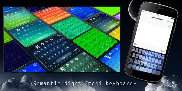Romantic Night Emoji Keyboard poster