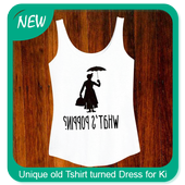 Unique old T-shirt turned Dress for Ki icon