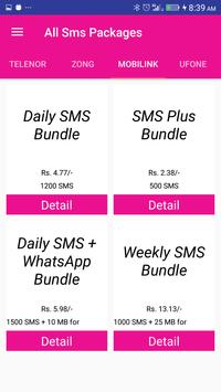 Pakistan All Sim SMS Packages 2018 apk screenshot