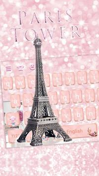 Rose Gold Paris tower Theme for Keyboard poster