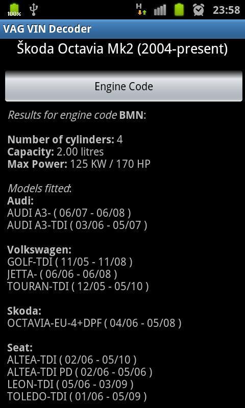 vag vin decoder for android - apk download