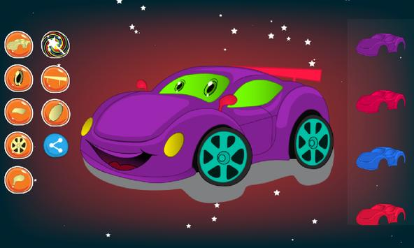 Car coloring and dress up poster