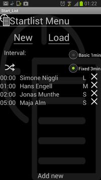 Start List screenshot 2
