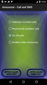 Announcer - Call and SMS screenshot 1