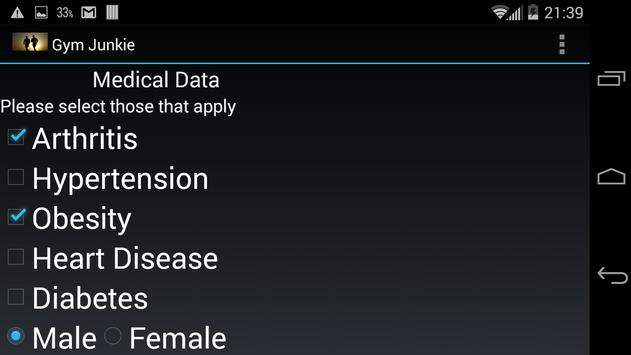 Fitgeek Select Workouts based on Medical condition apk screenshot