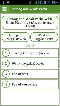 Irregular & Regular Verbs Urdu poster