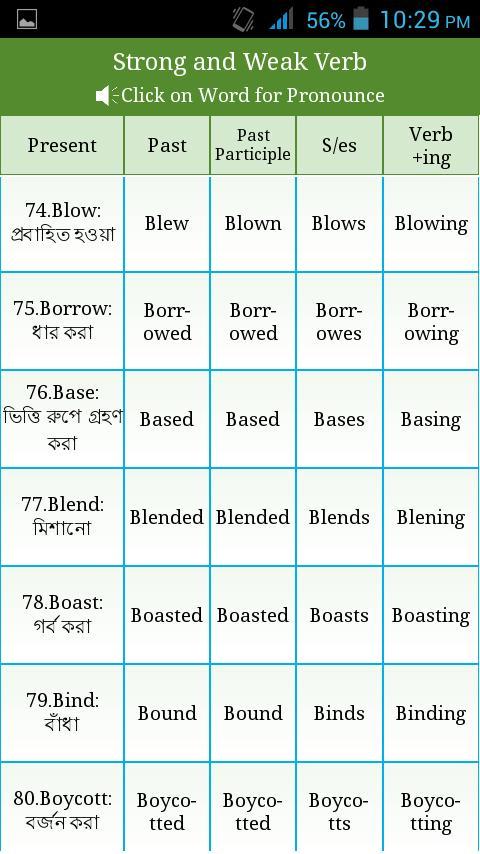 Irregular Regular Verbs Bangla for Android - APK Download