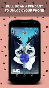 Cartoon Cat Zipper Lock Screen apk screenshot
