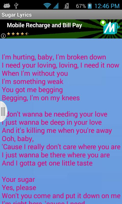 Maroon 5 Sugar Lyrics Free for Android - APK Download