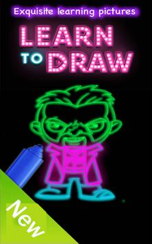 Draw Glow suicide squad poster