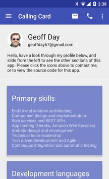 Calling Card for Geoff Day poster