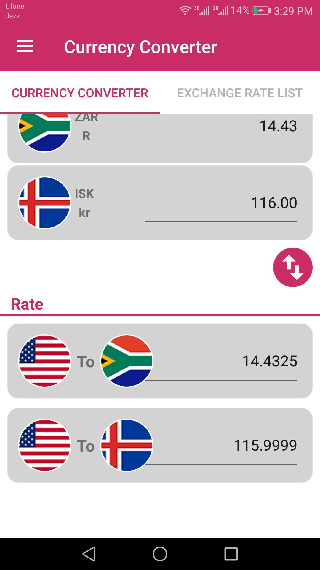 US Dollar To South African Rand and ISK Converter for Android ...