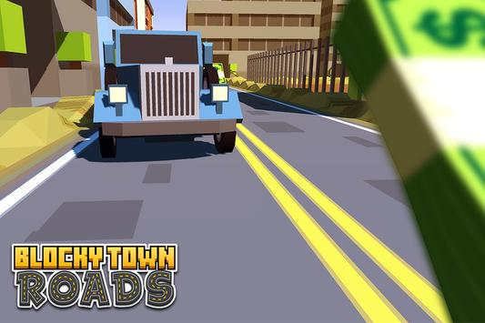 Blocky Town Roads - ZigZag Run poster