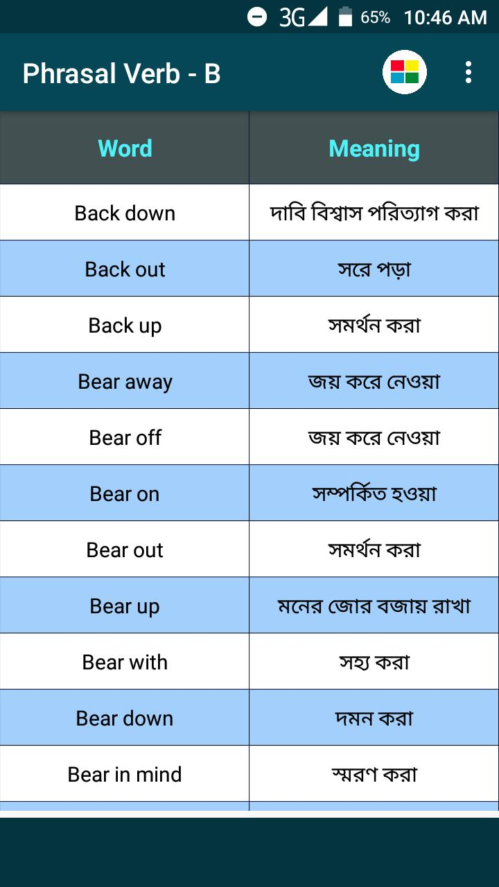 Phrasal Verb English to Bengali for Android - APK Download