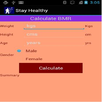 StayHealthyCalculators apk screenshot